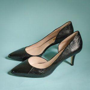 Louise et Cie 8/38 Davosa Black Snake Print Heels